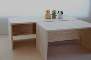 美しい組手の木製ローテーブル 正面