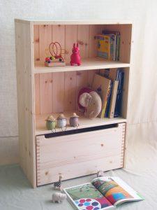 おもちゃ箱付き絵本棚23 クローズ時の拡大写真