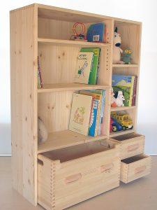 おもちゃ箱付き絵本棚16 オープン時の拡大写真