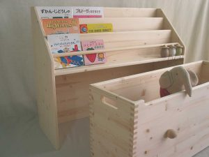 おもちゃ箱付き絵本立て1 オープン時の拡大写真