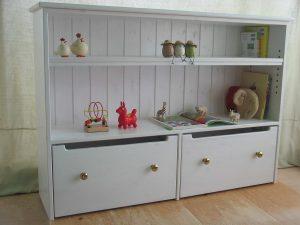 白いおもちゃ箱付き絵本棚4 クローズ時の拡大写真
