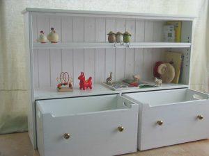 白いおもちゃ箱付き絵本棚4 オープン時の拡大写真