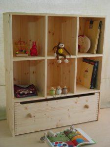 おもちゃ箱付き絵本棚12 クローズ時の拡大写真