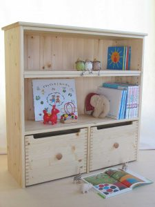 おもちゃ箱付き絵本棚13 クローズ時の拡大写真