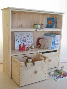 おもちゃ箱付き絵本棚13 オープン時の拡大写真
