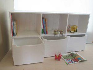おもちゃ箱付き絵本棚18 オープン時の拡大写真