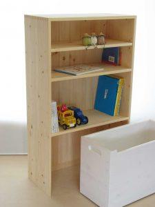 おもちゃ箱付き絵本棚24 オープン時の拡大写真