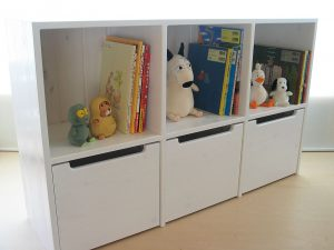 おもちゃ箱付き絵本棚27 クローズ時の拡大写真