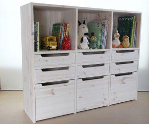 おもちゃ箱付き絵本棚28 クローズ時の拡大写真