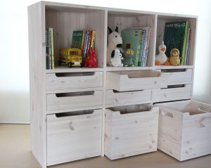 おもちゃ箱付き絵本棚28 オープン時の拡大写真