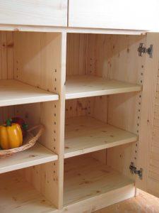 木製キッチンキャビネット オープン時拡大写真