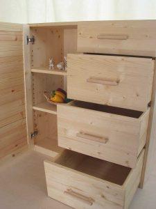 木製キッチンキャビネット オープン状態の拡大写真