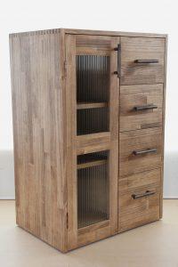 木製の食器棚と引出し収納を合せたキッチンストッカー